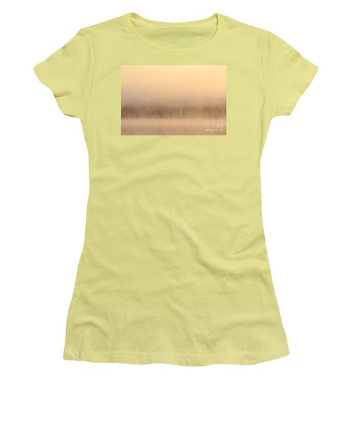 Lake Cassidy With Fog And Trees Along Shoreline Shrouded In Fog Women's T-Shirt (Athletic Fit)