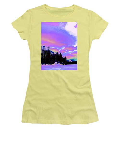Winter  Snow Sky  Women's T-Shirt (Junior Cut) by Expressionistart studio Priscilla Batzell