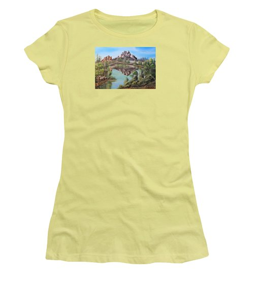 Lakehouse Women's T-Shirt (Junior Cut) by Remegio Onia