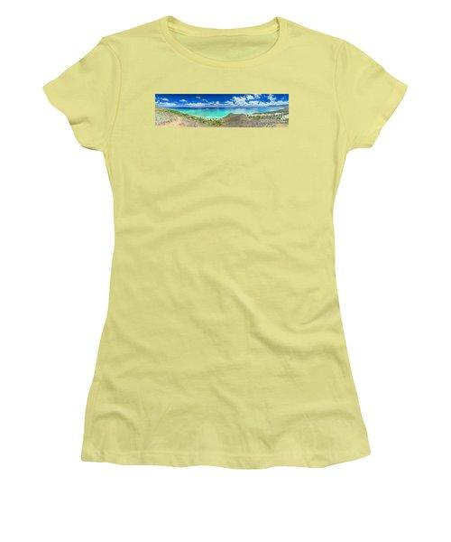 Lanikai Bellows And Waimanalo Beaches Panorama Women's T-Shirt (Athletic Fit)