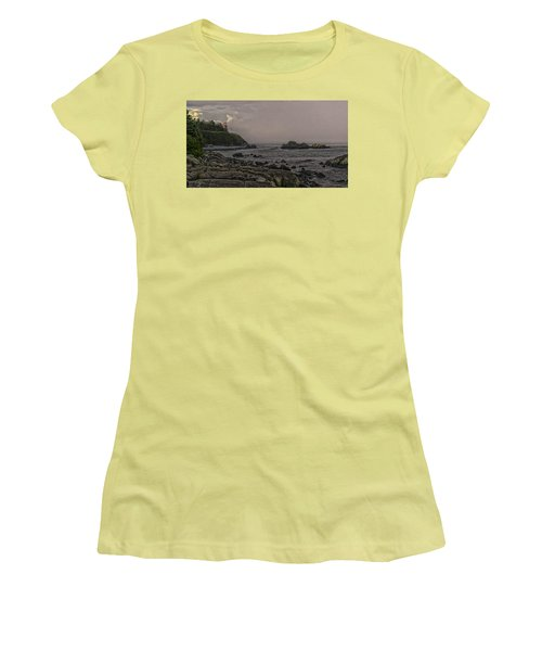 Women's T-Shirt (Junior Cut) featuring the photograph Late Afternoon Sun On West Quoddy Head Lighthouse by Marty Saccone