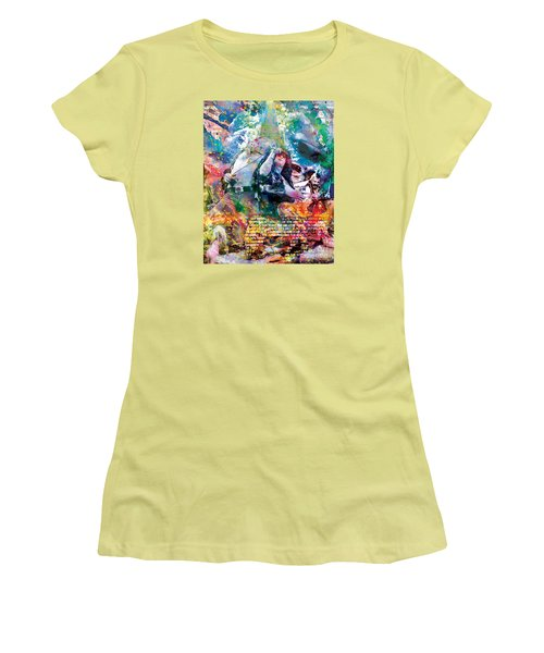 Led Zeppelin Original Painting Print  Women's T-Shirt (Junior Cut) by Ryan Rock Artist