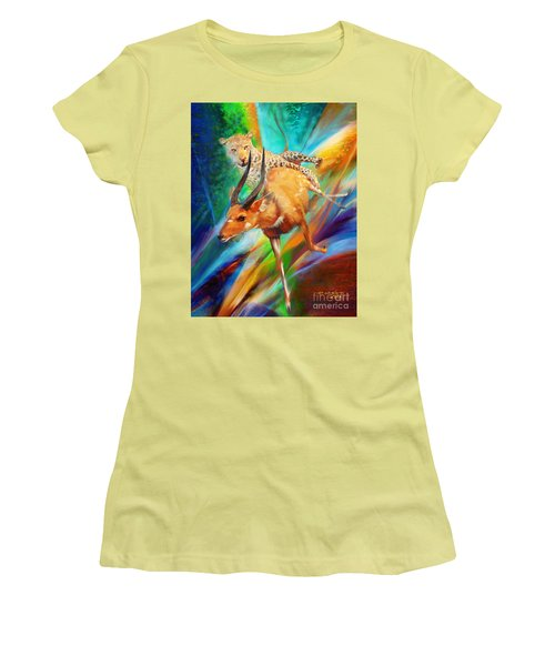 Women's T-Shirt (Junior Cut) featuring the painting Leopard Attack by Rob Corsetti