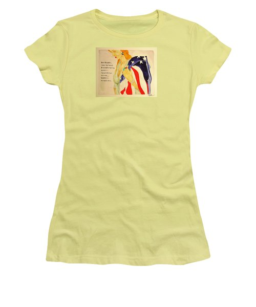 Women's T-Shirt (Junior Cut) featuring the painting The Divorce Of Liberty by Rand Swift