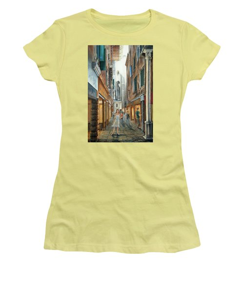 Light From San Salvador Merceria Del Capitello San Marco Venezia Women's T-Shirt (Athletic Fit)