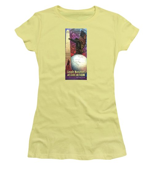 Women's T-Shirt (Junior Cut) featuring the painting Lincoln Monuments Street Banners Civil War Flag Bearer by Jane Bucci