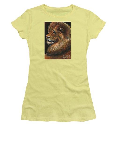 Lion Portrait Women's T-Shirt (Junior Cut) by Alga Washington