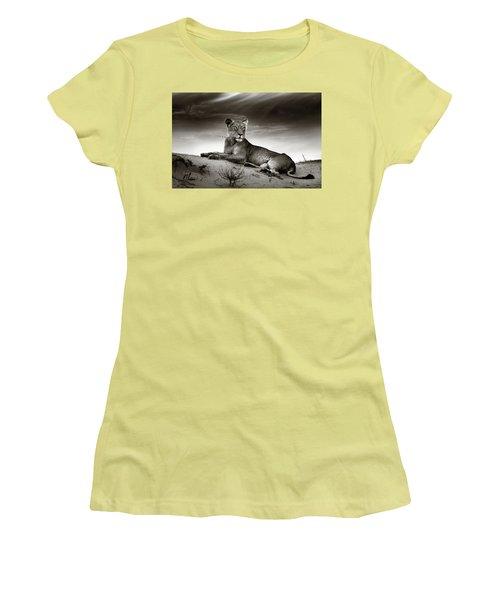 Lioness On Desert Dune Women's T-Shirt (Junior Cut) by Johan Swanepoel