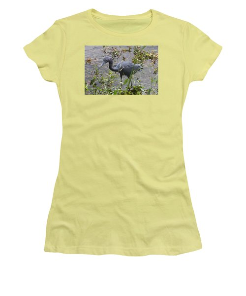 Women's T-Shirt (Junior Cut) featuring the photograph Little Blue Heron - Waiting For Prey by Christiane Schulze Art And Photography