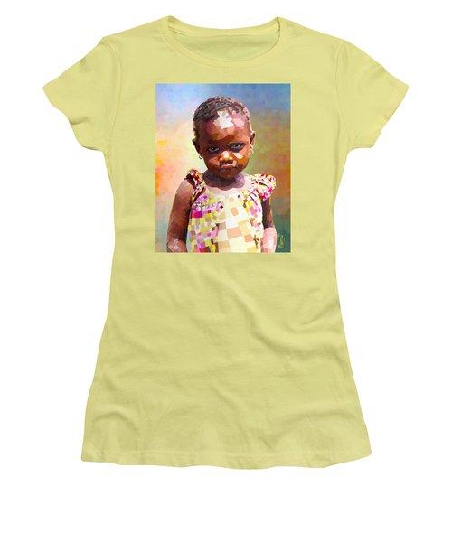 Women's T-Shirt (Junior Cut) featuring the digital art Little Cute Girl by Anthony Mwangi