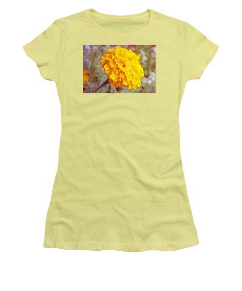 Women's T-Shirt (Junior Cut) featuring the photograph Little Golden  Marigold by Kay Novy