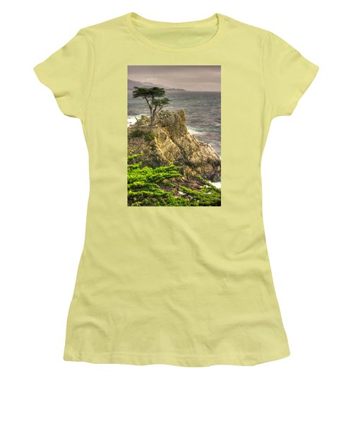 Lone Cypress On The Monterey Peninsula - No. 1 Looking Across Carmel Bay Spring Mid-afternoon Women's T-Shirt (Athletic Fit)