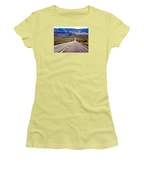 Women's T-Shirt (Junior Cut) featuring the photograph Lonely Road by Antonia Citrino