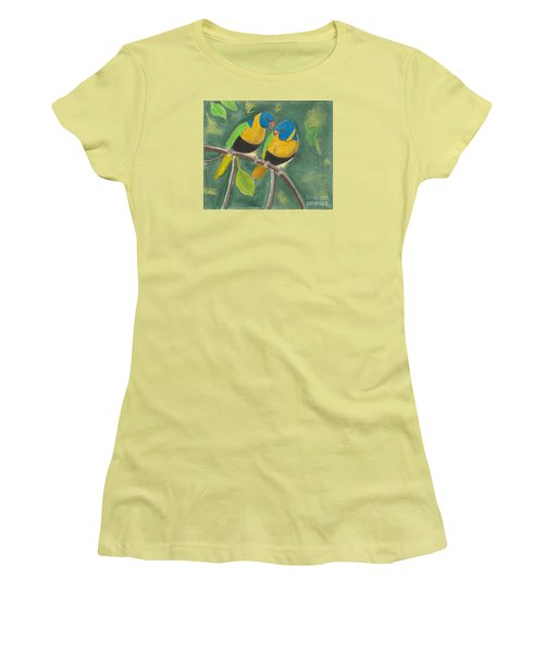 Women's T-Shirt (Junior Cut) featuring the pastel Love Birds by David Jackson