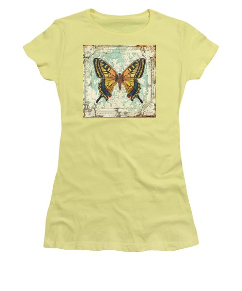 Lovely Yellow Butterfly On Tin Tile Women's T-Shirt (Junior Cut) by Jean Plout