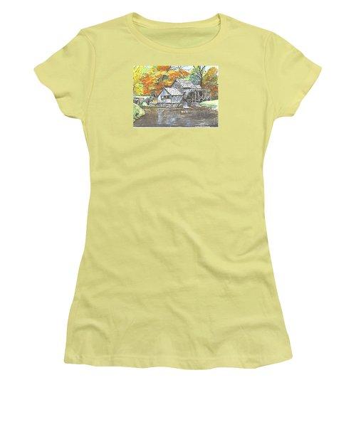 Women's T-Shirt (Junior Cut) featuring the painting Mabry Grist Mill In Virginia Usa by Carol Wisniewski