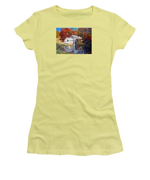 Mabry Mill Blue Ridge Virginia Women's T-Shirt (Junior Cut) by LaVonne Hand