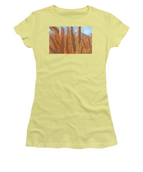 Women's T-Shirt (Junior Cut) featuring the photograph Macro Of Wheat Art Prints by Valerie Garner