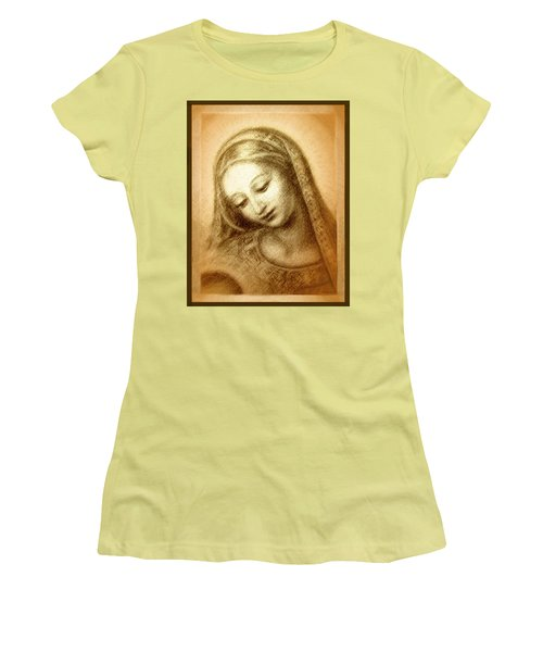 Women's T-Shirt (Junior Cut) featuring the mixed media Madonna With The Dove Face by Ananda Vdovic