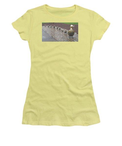 Make Way For Ducklings Women's T-Shirt (Junior Cut) by Barbara McDevitt