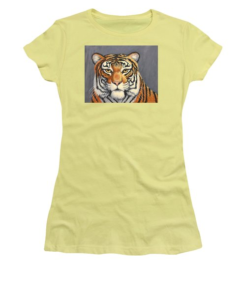 Women's T-Shirt (Junior Cut) featuring the painting Malayan Tiger Portrait by Penny Birch-Williams