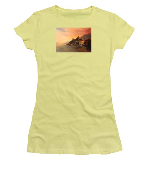 Women's T-Shirt (Junior Cut) featuring the painting Malcesine Lake Garda Italy by Jean Walker
