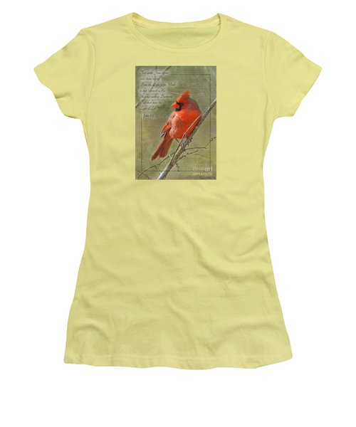 Male Cardinal On Twigs With Bible Verse Women's T-Shirt (Junior Cut) by Debbie Portwood
