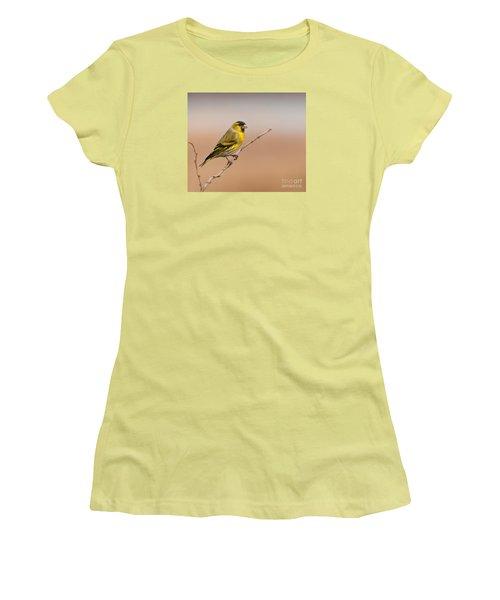 Male Eurasian Siskin Women's T-Shirt (Junior Cut) by Liz Leyden
