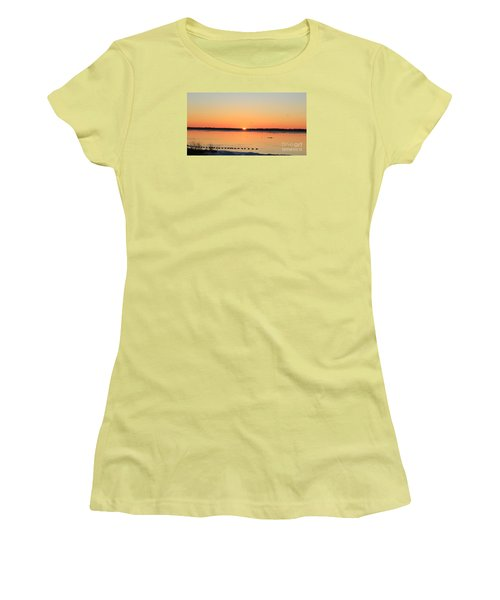 Women's T-Shirt (Junior Cut) featuring the photograph Mallards At Sunrise by David Jackson