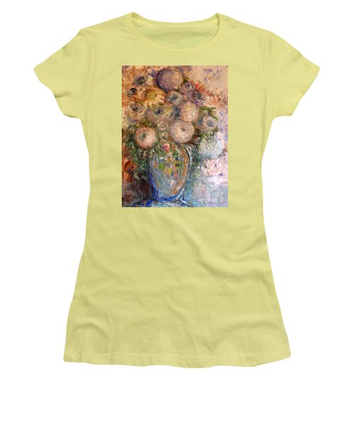 Women's T-Shirt (Athletic Fit) featuring the painting Marshmallow Flowers by Laurie L