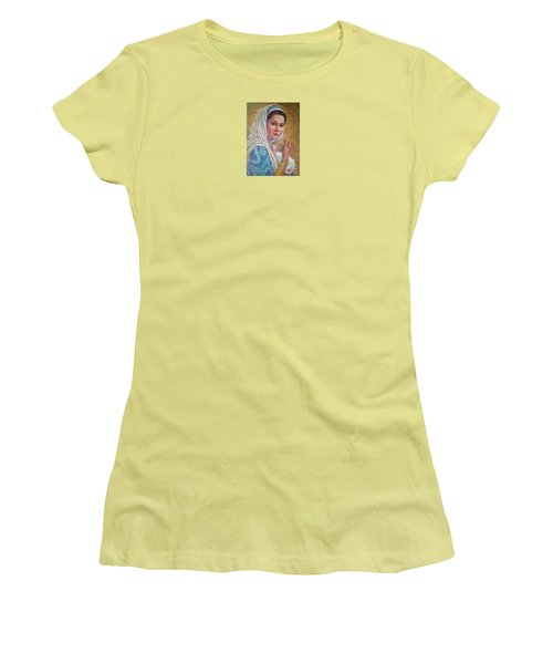 Women's T-Shirt (Junior Cut) featuring the pastel Mary Did You Know    by Jane Bucci