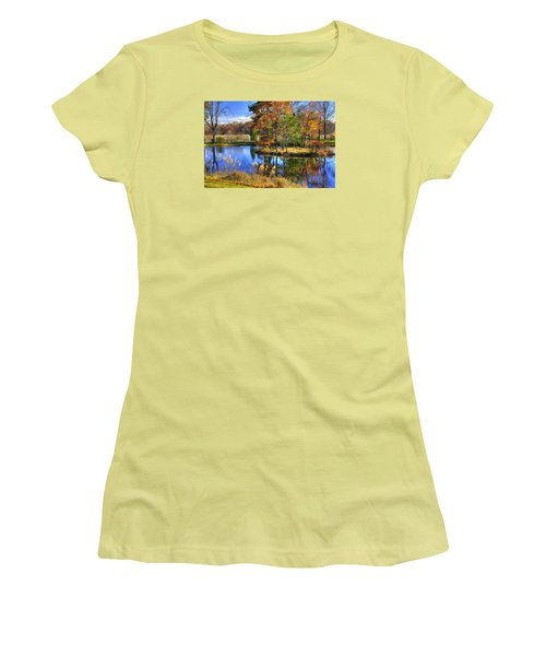 Maryland Country Roads - Autumn Respite No. 1 - Stronghold Sugarloaf Mountain Frederick County Md Women's T-Shirt (Junior Cut) by Michael Mazaika