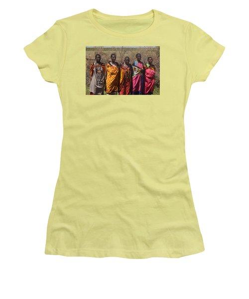 Women's T-Shirt (Junior Cut) featuring the photograph Masai Women Chorus by Tom Wurl
