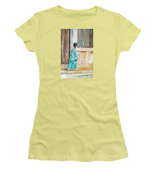 Women's T-Shirt (Junior Cut) featuring the painting Meditation  by Mary Haley-Rocks