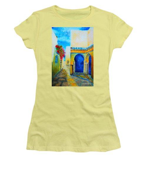 Women's T-Shirt (Junior Cut) featuring the painting Mediterranean Medina by Ana Maria Edulescu