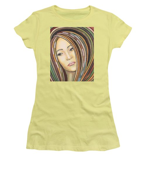 Women's T-Shirt (Junior Cut) featuring the painting Melancholy 300308 by Sylvia Kula