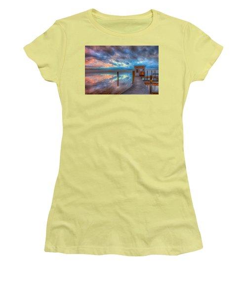 Melvin Village Marina In The Fog Women's T-Shirt (Junior Cut) by Brenda Jacobs