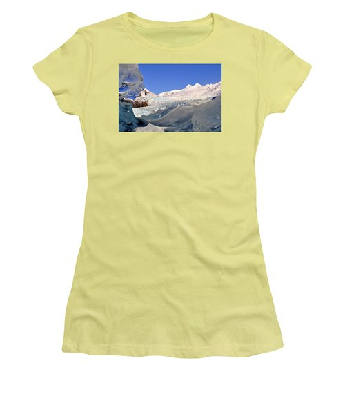 Women's T-Shirt (Junior Cut) featuring the photograph Mendenhall Glacier Refraction by Cathy Mahnke