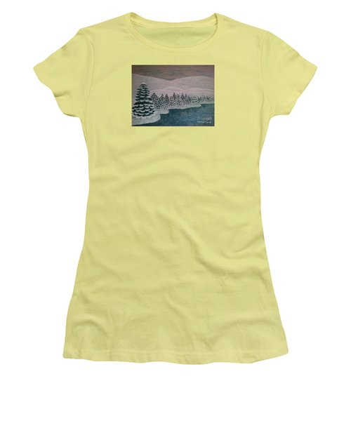 Women's T-Shirt (Junior Cut) featuring the painting Michigan Winter by Jasna Gopic