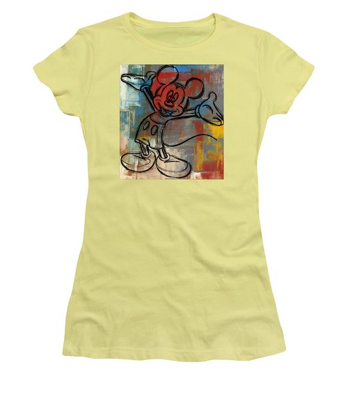 Mickey Mouse Sketchy Hello Women's T-Shirt (Junior Cut) by Paulette B Wright