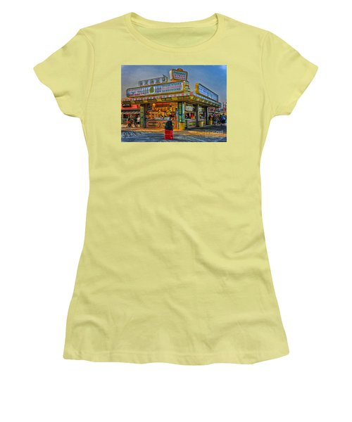 Women's T-Shirt (Junior Cut) featuring the photograph Midway Steak House by Debra Fedchin