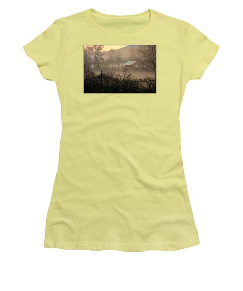 Misty Morn And Horse Women's T-Shirt (Junior Cut) by Kathy Barney