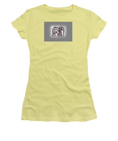 Mom Elephant Women's T-Shirt (Junior Cut) by Harsh Malik
