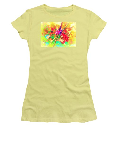 Women's T-Shirt (Junior Cut) featuring the painting Monarch Butterfly  by David Mckinney