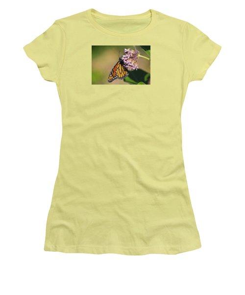 Monarch On Milkweed Women's T-Shirt (Junior Cut) by Shelly Gunderson
