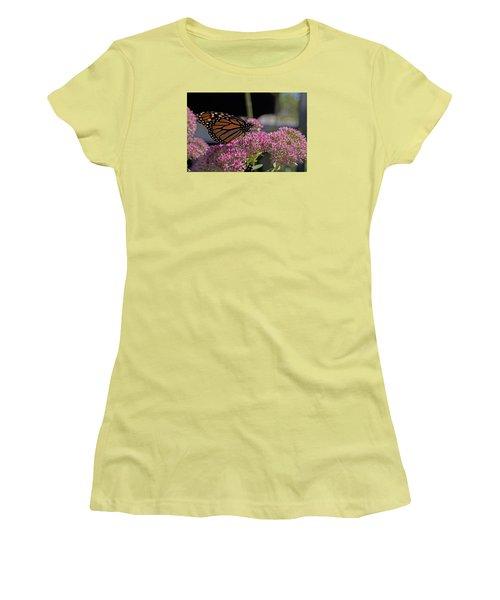 Monarch On Sedum Women's T-Shirt (Junior Cut) by Shelly Gunderson