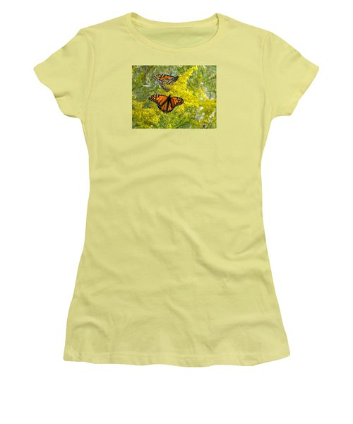 Women's T-Shirt (Junior Cut) featuring the photograph Monarchs On Goldenrod by Susan  Dimitrakopoulos