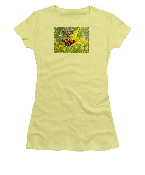 Monarchs On Goldenrod Women's T-Shirt (Junior Cut) by Susan  Dimitrakopoulos