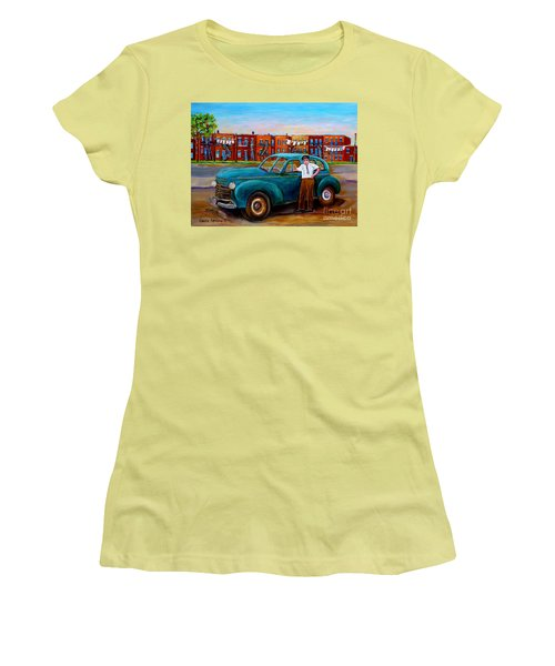 Montreal Taxi Driver 1940 Cab Vintage Car Montreal Memories Row Houses City Scenes Carole Spandau Women's T-Shirt (Athletic Fit)
