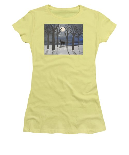Moonlight On Snow Women's T-Shirt (Athletic Fit)